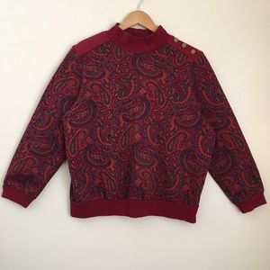 Vintage Knit Paisley Sweater with Mock Neck
